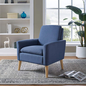 Lohoms Modern Accent Fabric Chair Single Sofa Comfy Upholstered Arm Chair Living Room Furniture (Blue)