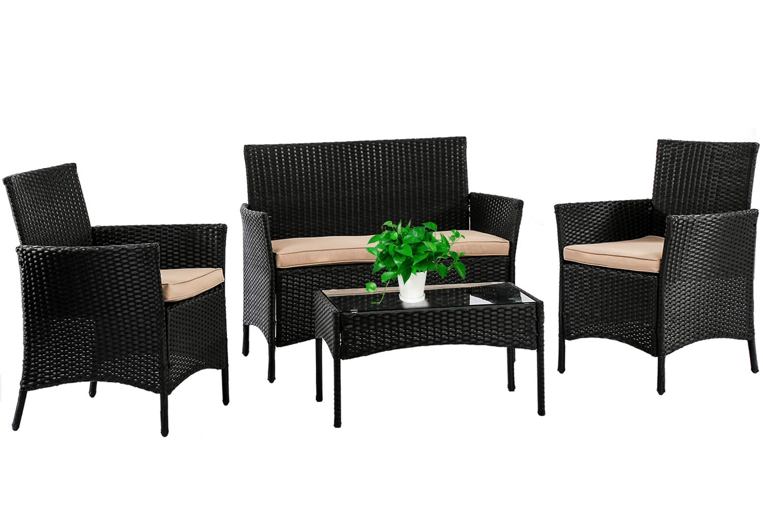 Patio Furniture Set 4 Piece Outdoor Wicker Sofas Rattan Chair Wicker Conversation Set Coffee Table Bistro Sets For Pool Backyard Lawn,Black
