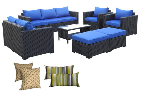 Rattaner Outdoor Wicker Sofa Set -5 Pice Patio PE Rattan Garden Sectional Conversation Cushioned Seat Couch Furniture Set Royal Blue Cushion