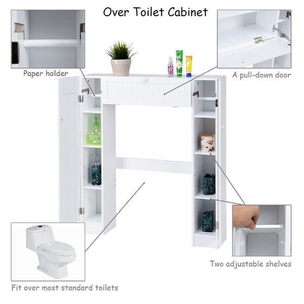 COSTWAY Wooden over the Toilet Storage Cabinet