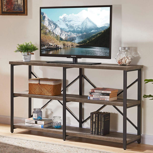 BON AUGURE Rustic Console Sofa Table, Industrial Hallway/Entryway Table, 3 Shelf Open Bookshelf(55 Inch,Dark Oak)