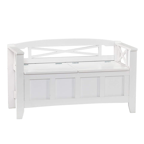Cutler Entryway Storage Bench - Hidden Storage - Wood Frame w/ White Finish