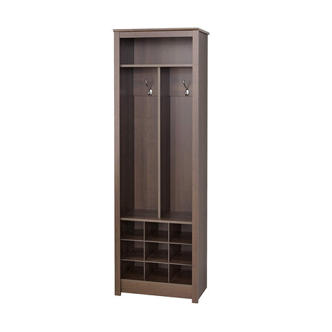 Prepac ESOH-0010-1 Space Saving Entryway Organizer with Shoe Storage, Espresso, 13Lx23.5Wx72.5H,