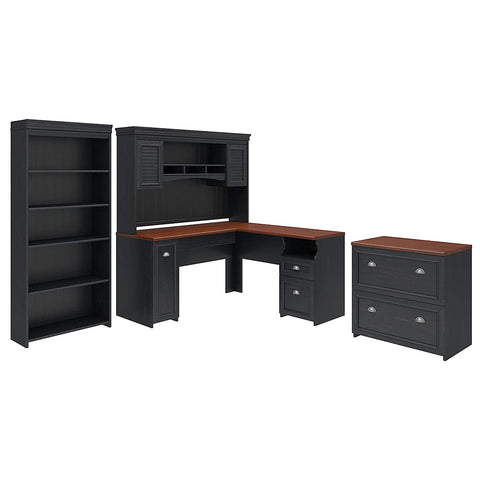 Bush Furniture Fairview L Shaped Desk with Hutch, Bookcase and Lateral File Cabinet in Antique Black