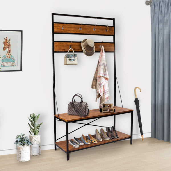 LASUAVY Coat Rack, Shoe Bench, Vintage Shoe Coat Rack, Hall Tree Entryway Shelf