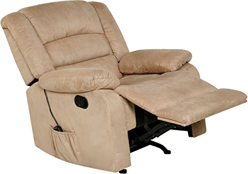 Relaxzen Massage Rocker Recliner with Heat and USB, Gray Microfiber