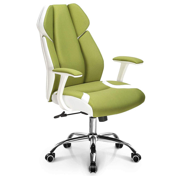 Neo Chair Premium Soft Breathable Fabric Office Gaming Executive Chair Wide Pocket Spring Seat Lumbar Support w/Ergonomic Curved Deign & Headrest Reclining Adjustable Computer Desk Home Chair, Green