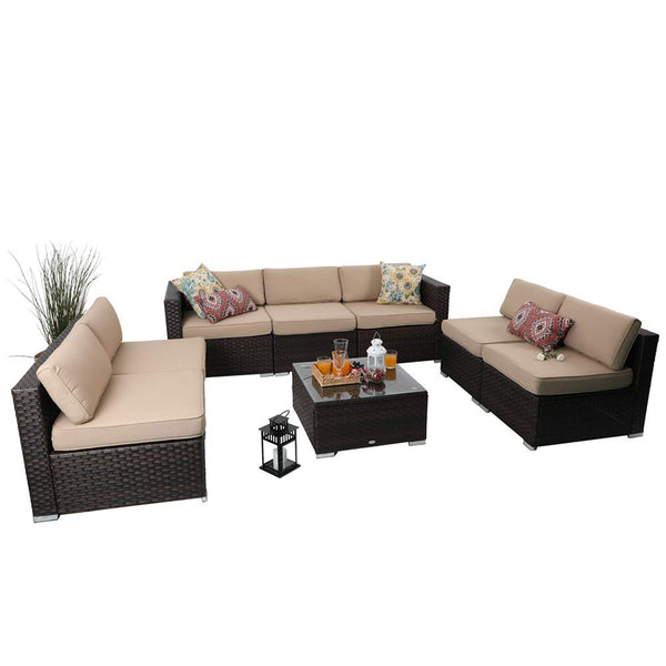 PHI VILLA Outdoor Rattan Sectional Sofa- Patio Wicker Furniture Set (10-Piece)