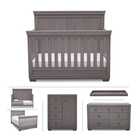 Baby Nursery Furniture Set in White Antique – Convertible Crib, Dresser, Chest, Changing Top, Toddler and Full Size Conversions – 6 Piece Simmons Ravello Collection