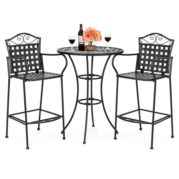 Best Choice Products 3-Piece Woven Pattern Wrought Iron Patio Bar Height Bistro Table Set w/ 2 Chairs - Black