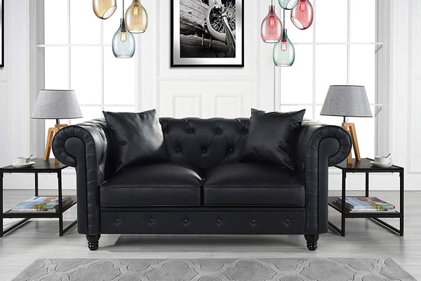 DIVANO ROMA FURNITURE Classic Living Room Bonded Leather Scroll Arm Chesterfield Loveseat (Black)