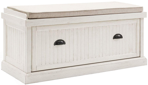 Crosley Furniture Seaside Entryway Bench - Distressed White