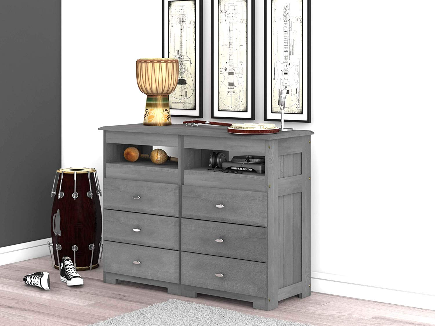 Discovery World Furniture Charcoal 6 Drawer Entertainment Dresser
