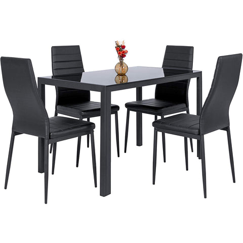 Best Choice Products 5 Piece Kitchen Dining Table Set W/Glass Top and 4 Leather Chairs Dinette- Black