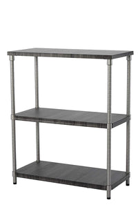 Home Zone Bookcase Storage Rack with 5-Tier Wide Shelving Unit | | Steel and Wood with Satin Nickel Finish,