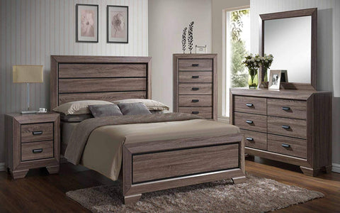 Kings Brand 6-Piece Queen Size Black/Brown Wood Modern Bedroom Furniture Set, Bed, Dresser, Mirror, Chest & 2 Night Stands
