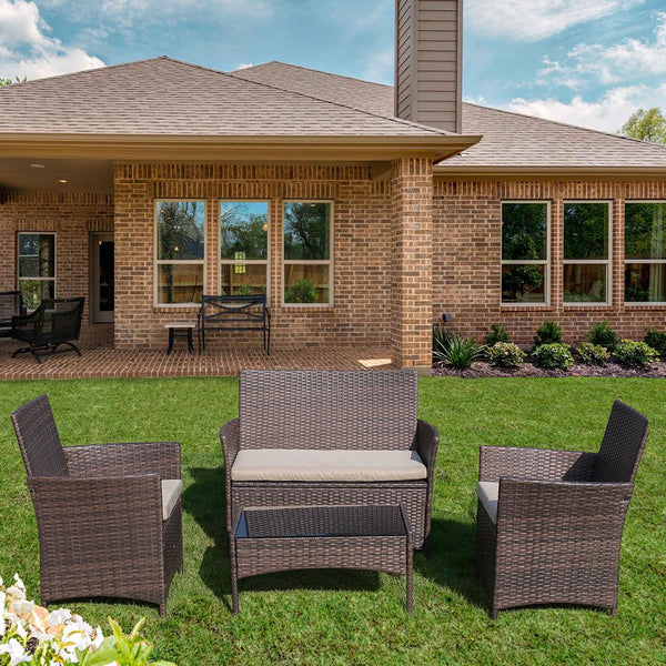 Devoko 4 Pieces Patio Porch Furniture Sets PE Rattan Wicker Chairs Beige Cushion with Table Outdoor Garden Patio Furniture Sets (Brown)