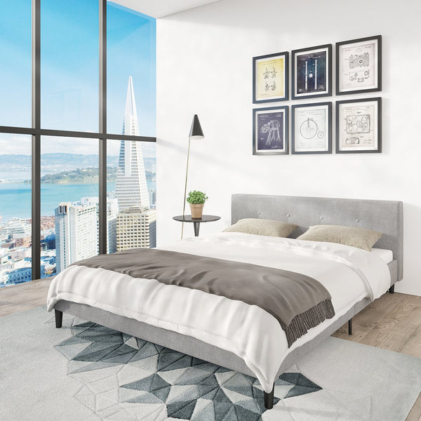 San Francisco Queen Bed Frame | Upholstered Low Profile Headboard + Platform Bedframe | Gray Linen Modern Style Silver Grey Cloth Bedroom Mattress Furniture + Soft Wood Footboards, Slats, Box Included