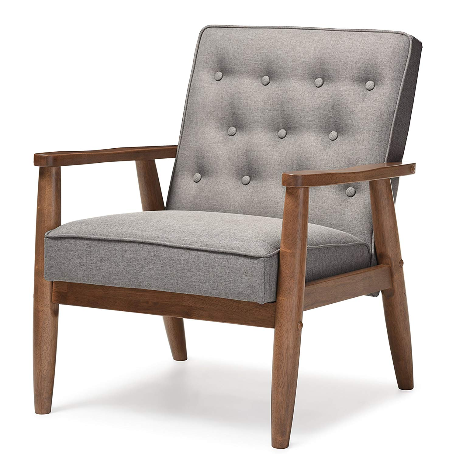 Baxton Studio Sorrento Mid-Century Retro Modern Fabric Upholstered Wooden Lounge Chair, Grey