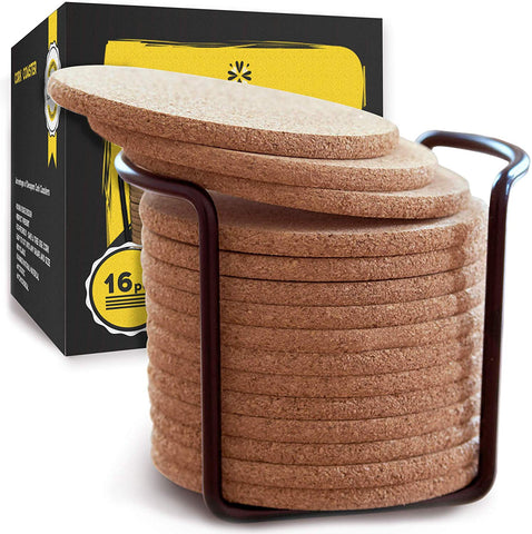 Natural Cork Coasters with Round Edge 4 inches 16pc Set with Metal Holder Storage Caddy