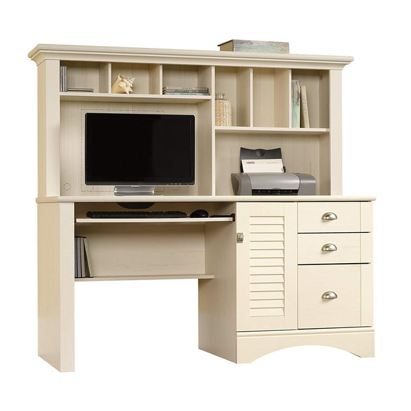 "Sauder 415109 Harbor View Computer Desk with Hutch, L: 62.21"" x W: 23.50"" x H: 57.36"", Salt Oak finish"