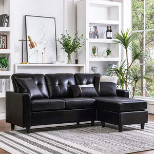 HONBAY Convertible Sectional Sofa Couch Leather L-Shape Couch with Modern Faux Leather Sectional for Small Space Apartment Black