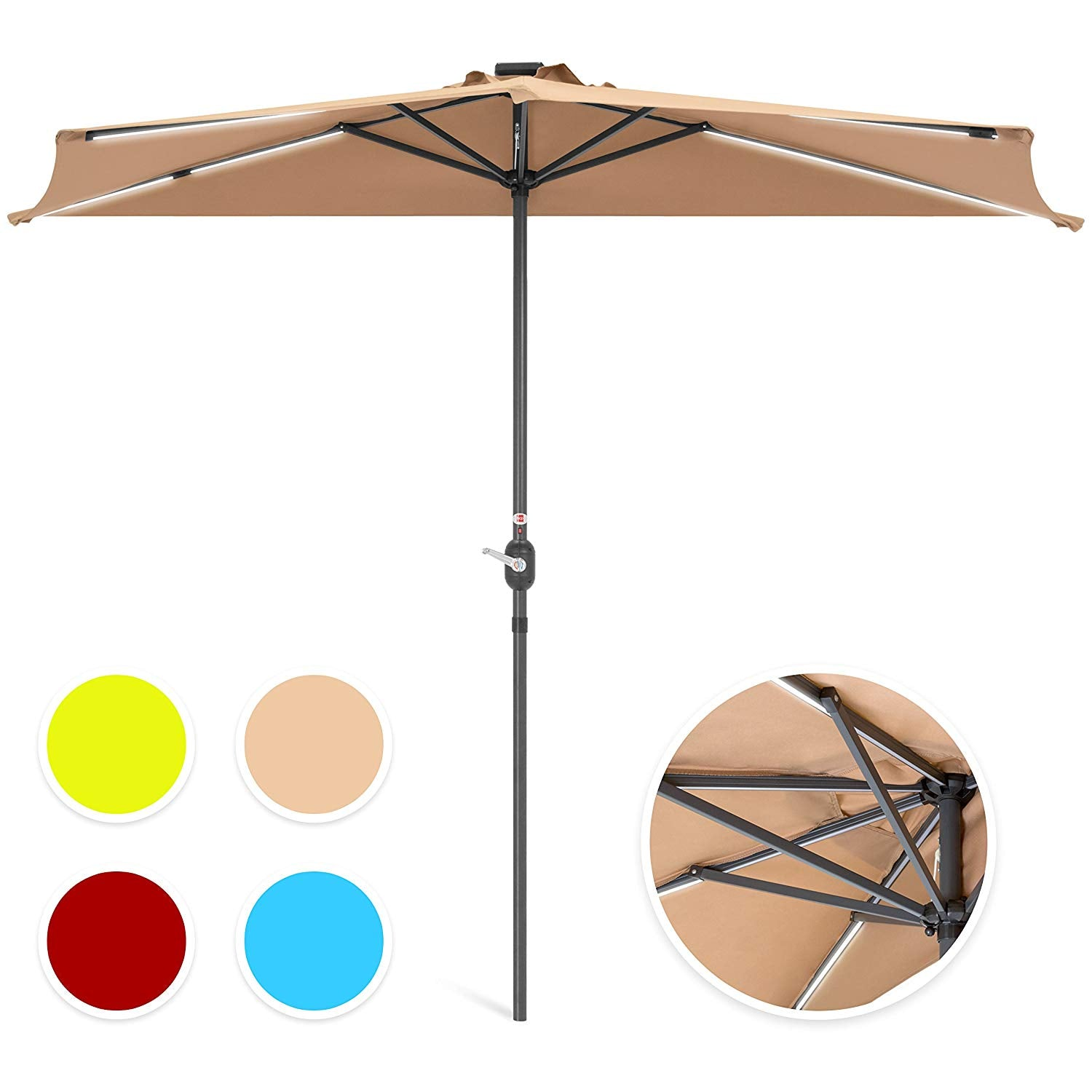 Best Choice Products 8.5ft Solar LED Strip Lighted Half Patio Umbrella - Tan
