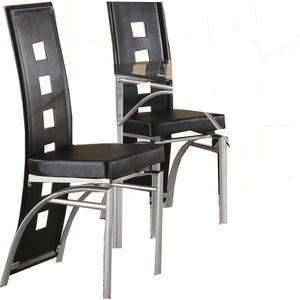 Coaster 101682 Los Feliz Black Vinyl and Metal Side Chairs Set of 2