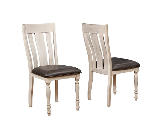 Roundhill Furniture T7293R-C7293-C7293-C7293 Arch Solid Wood Dining Set: Round Table, Six Chairs, Distressed White and Dark Oak