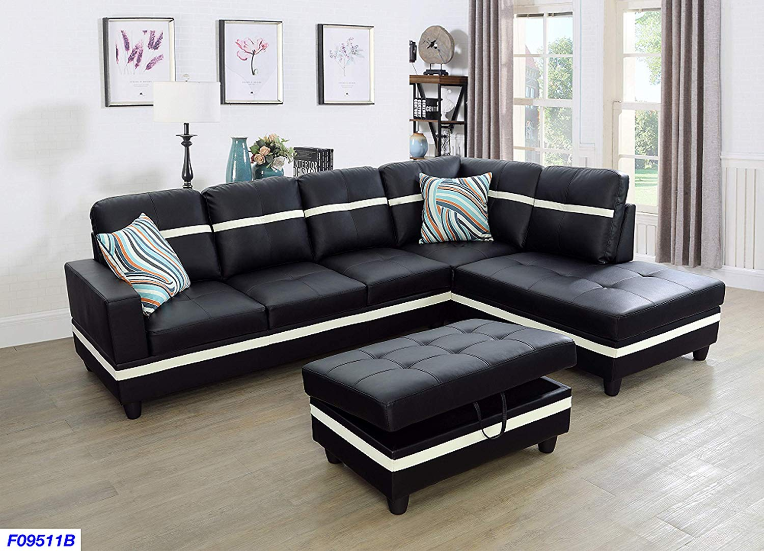 Beverly Fine Funiture SHPO9511A-3PC Sectional Sofa Set, Black with White Stripe