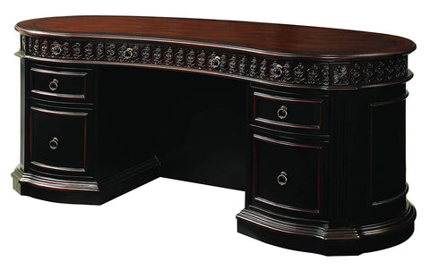 Rowan Oval Double Pedestal Executive Desk Black and Chesnut