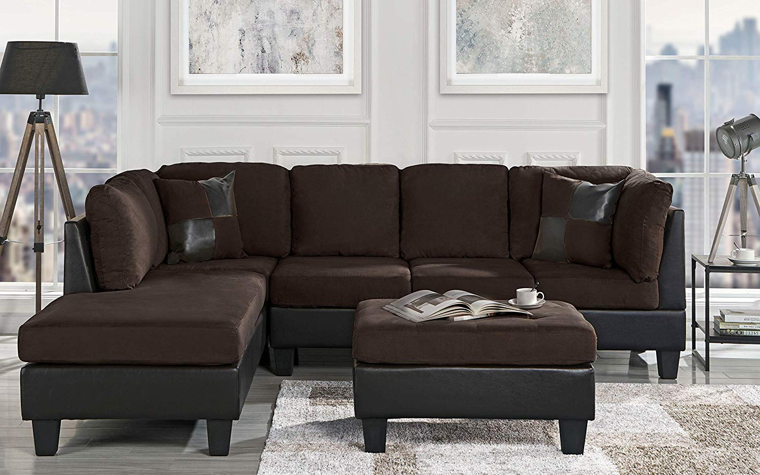 "Casa Andrea Modern 3-Piece Microfiber and Faux Leather Sofa and Ottoman Set, 102"" W (Brown)"
