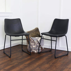 WE Furniture Black Faux Leather Dining Chairs, Set of 2 Rustic Cushion Seat Metal Legs