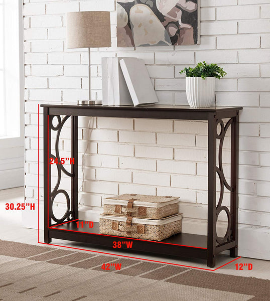 Kings Brand Furniture Cherry Finish Wood Entryway Console Sofa Table