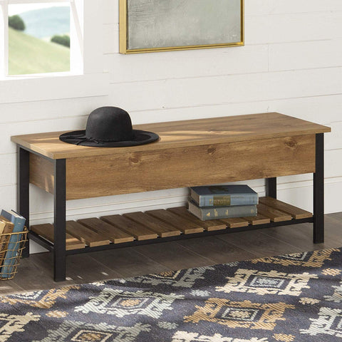 WE Furniture AZ48PCSBBW Open-Top Storage Bench, Barnwood