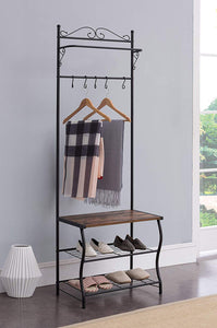 Kings Brand Furniture - Entryway Shoe Bench, Coat Rack, Hall Tree Storage Organizer with Hooks