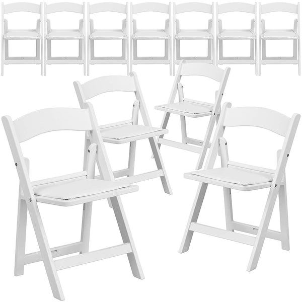 Flash Furniture 11 Pk. Kids White Resin Folding Chair with White Vinyl Padded Seat