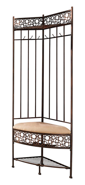 Kings Brand Furniture Brushed Copper Metal Corner Entryway Hallway Storage Bench with Coat Rack