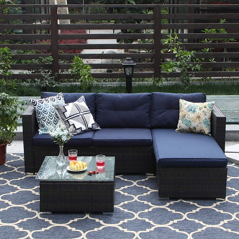 PHI VILLA 6-Piece Outdoor Sectional Sofa Rattan Patio Furniture Set Conversation Set with Tea Table and Free Patio Sofa Cover, Blue