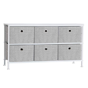 SONGMICS 2-Tier Wide Closet Dresser, Nursery Dresser Tower with 6 Easy Pull Fabric Drawers and Metal Frame, Multi-Purpose Organizer Unit for Closets, Dorm Room, Living Room, Hallway, Grey ULTS32G