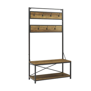 WE Furniture Industrial Metal and Wood Hall Tree in Driftwood - 72""