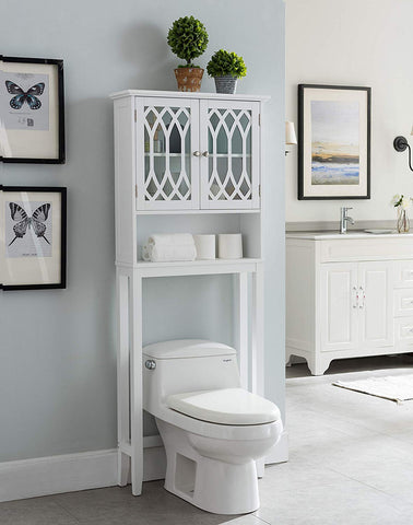 Kings Brand Furniture – Newberry Over The Toilet Bathroom Storage Cabinet Space Saver, White