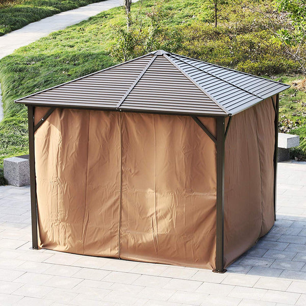 Outsunny 10 x 10 Steel Backyard Garden Hardtop Gazebo with Mosquito Netting and Curtains- Brown/Black