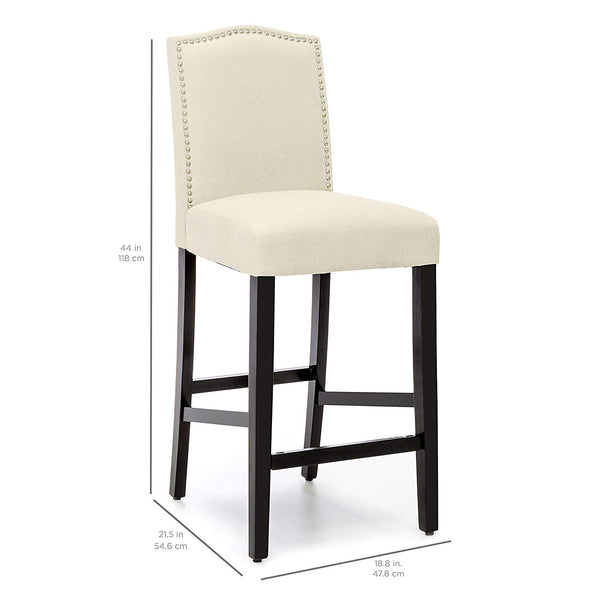 Best Choice Products 30in Faux Leather Contemporary Counter Height Armless Backed Accent Breakfast Bar Stool Chairs for Dining Room, Kitchen, Bar with Studded Nail Head Trim, Set of 2, Ivory
