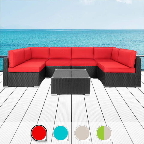 Walsunny 7pcs Patio Outdoor Furniture Sets,All-Weather Rattan Sectional Sofa with Tea Table&Washable Couch Cushions (Black Rattan (Red)