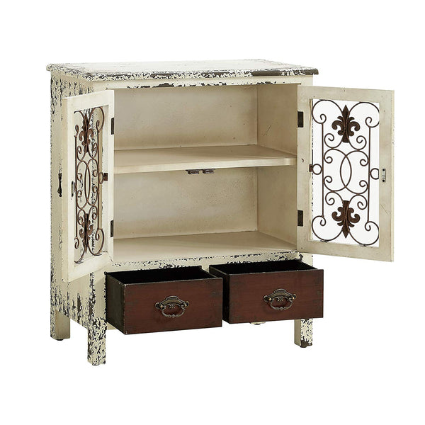 Powell's Furniture 990-332 Parcel 2-Door 2-Drawer Console, White