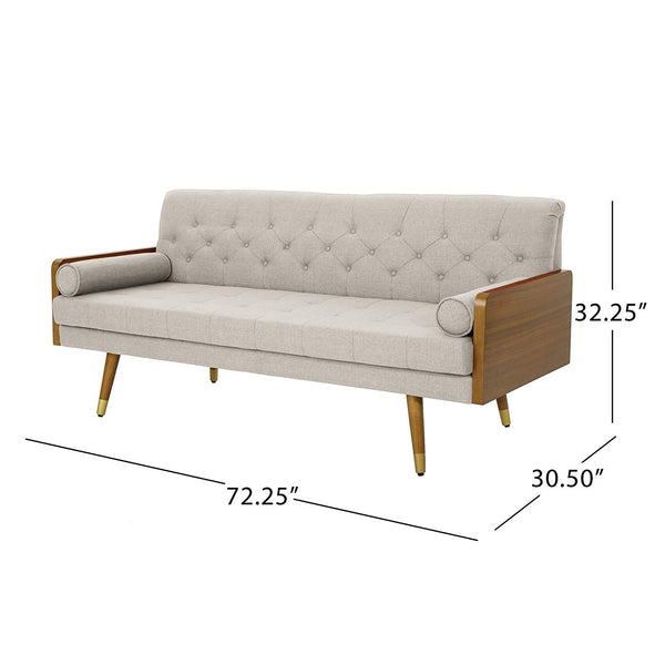 Christopher Knight Home 305140 Aidan Mid Century Modern Tufted Fabric Sofa, Beige,