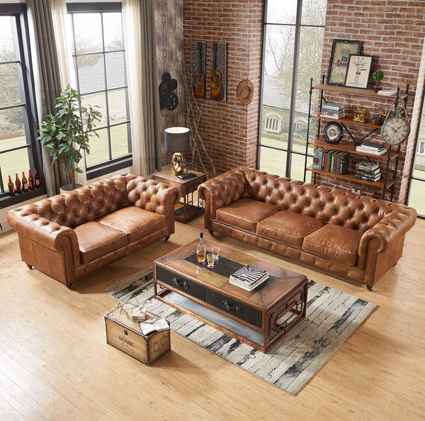 Crafters and Weavers Top Grain Vintage Leather Chesterfield Love Seat
