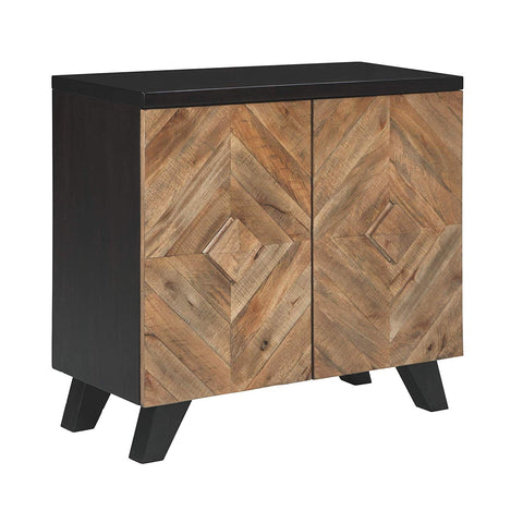 Ashley Furniture Signature Design - Robin Ridge 4-Door Accent Cabinet - Contemporary - Two-Tone Brown Finish - Diamond Inlay Pattern