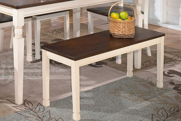 Signature Design by Ashley Large Dining Bench in Brown and Cottage White